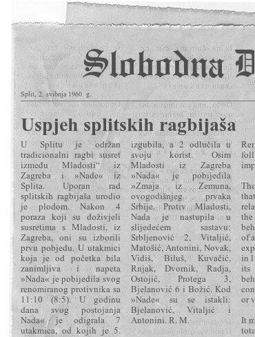 Ragbi članak iz 30. rujna 1960. g.